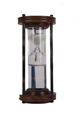 Solid Brass Wood Sand Hour Glass Timer for Vintage Wall Mount Table Home Decor