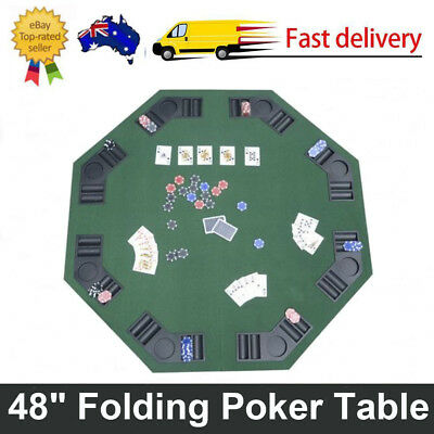 "48"" Folding Poker & Blackjack Table Octagon For 8 Players Portable Game Desk Top"