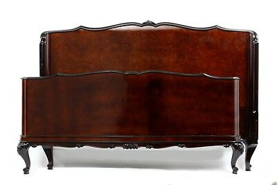 Double Size Bed- 1940- Walnut Wood- Marqueterie - After professional renovation