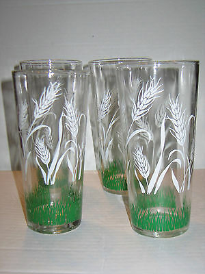 """Lot of 4 Vintage Swanky Swig  Ice Tea Glasses Tumblers Wheat and Grass 6.5"""""""