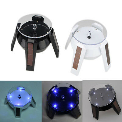 Solar Powered 360° Watch Jewelry Rotating Display Stand Turn Table LED Light