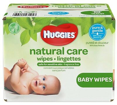 HUGGIES Natural Care Unscented Baby Wipes, Sensitive Skin, 176-368-552-648 count