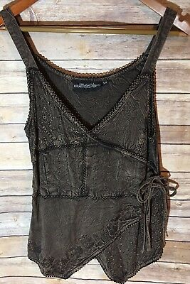 All That Jazz Bronze Black Boho Wrap Look Tank Top Size Small