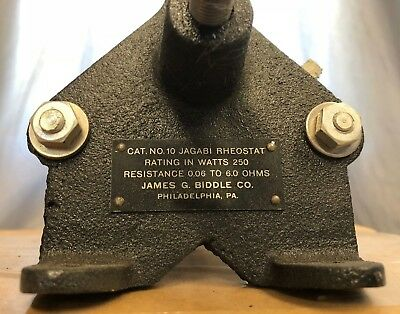 James G. Biddle Co., Catalog No. 10 Jagabi Rheostat, 250 watt, 0.06 to 6.0 Ohms