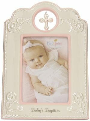 Nat and Jules Baby's Baptism Frame, Pink New