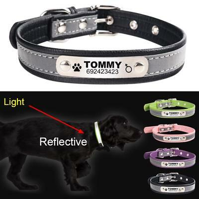 Personalized Leather Engraved Dog Collars Reflective Puppy Cat Pets Name ID Tag