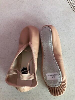 Child's Pink, leather full-sole ballet shoes NEW size 10