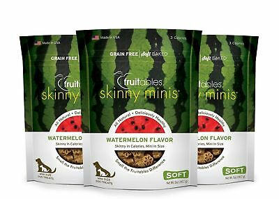 Fruitables Skinny Minis 5 Ounce Watermelon Chewy Dog Treats Pack of 3 (15... New