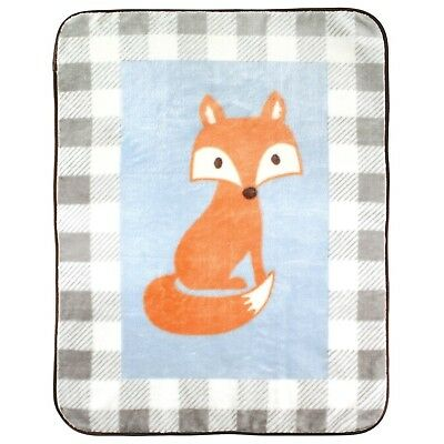 """Luvable Friends Character High Pile Blanket, 30"""" x 36"""" Blue Fox New"""
