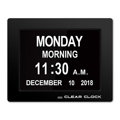 Clear Clock Digital Memory Loss Calendar Day Clock With Alarm Senior Clock Black