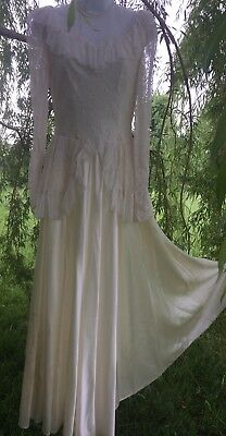 Vintage Liquid Satin n Lace WEDDING GOWN Dress  Peplum 1930's 1940's Art Deco S