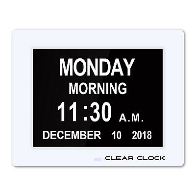 NEW Clear Clock Extra Large Digital Memory Loss Calendar Day Clock W Alarm White