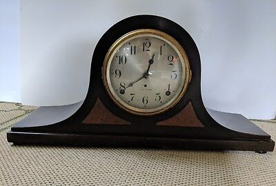 Antique Seth Thomas Wood Mantle Clock With Triangle Inlay -Not Working