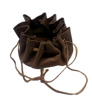 LARP Brown Round Leather Draw String Money/Dice Pouch/Bag,Reenactment,Medieval