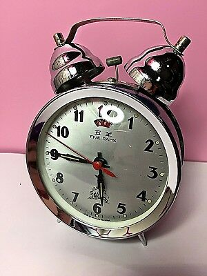 Vintage China Chinese Mechanical Alarm Clock Five Rams Diamond Rare Twin Bell
