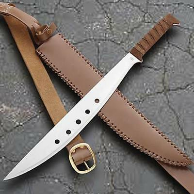 "Windlass 25"" Genesis Machete w/ Brown Leather/Brass Sheath 1085 Carbon Blade New"