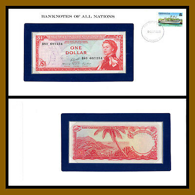 East Caribbean States 1 Dollar, ND 1965 P13J Queen Elizabeth II Banknotes of Nat