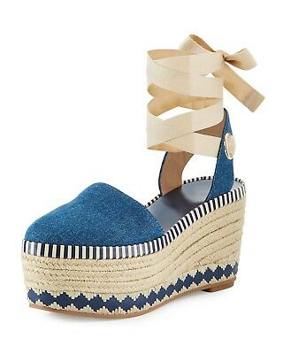 28199a9abb6f New Tory Burch Dandy Denim Wedge Espadrille Sandals Size 7  435.00  Sold  Out