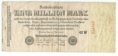 Germany Weimar Republic 1 Million mark 1923 outer facing serial P94 Ro-92c (B105