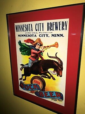 Minnesota Brewery Bock Beer Bar Tavern Framed Advertising Print Man Cave Sign