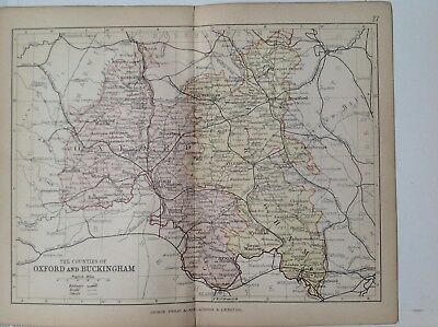 Oxford & Buckingham 1878 Antique County Map, Bartholomew England Atlas Railways