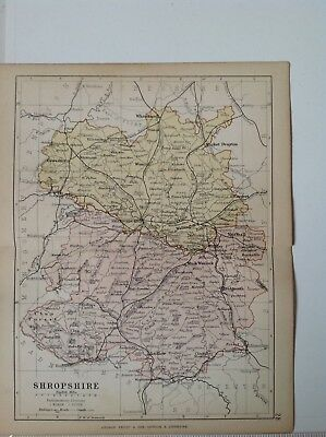Shropshire 1878 Antique County Map, Bartholomew England Atlas Railways, Canals