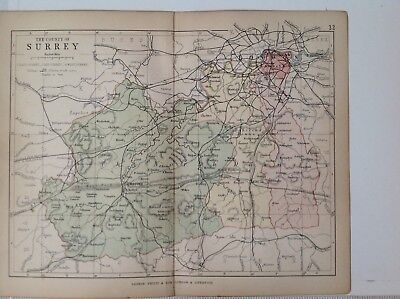 Surrey 1878 Antique County Map, Bartholomew England Atlas Railways, Canals