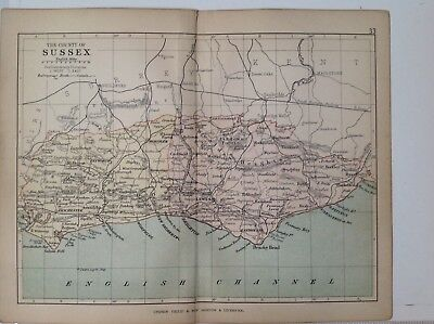Sussex 1878 Antique County Map, Bartholomew England Atlas Railways, Canals