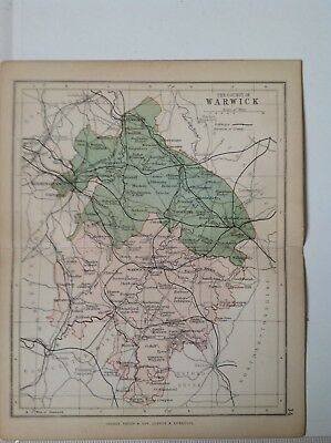 Warwick 1878 Antique County Map, Bartholomew England Atlas Railways, Canals