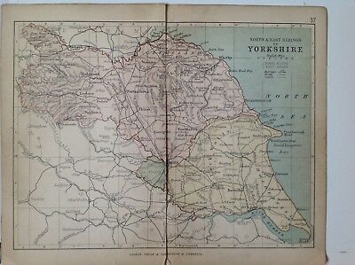 North & East Ridings of Yorkshire 1878 Antique County Map, Bartholomew, Railways