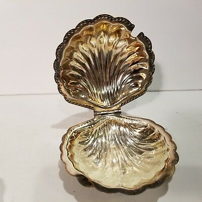 Vintage   Silver Plated Shell Butter Dish With Glass Insert