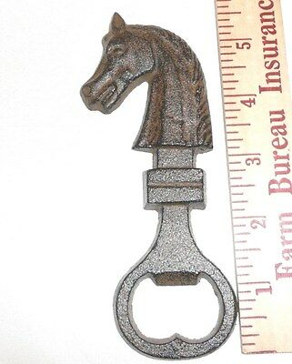 Horse Head Figural Cast Iron Bottle Opener~Handheld~Beer~ManCave~Bar~Kitchen~Pub
