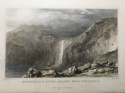 1832 Antique Print;  Waterfall & Quarry Boscastle, Cornwall after Thomas Allom