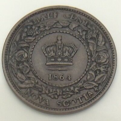 1864 Canada Nova Scotia 1/2 One Half Cent Penny Circulated Canadian Coin F571