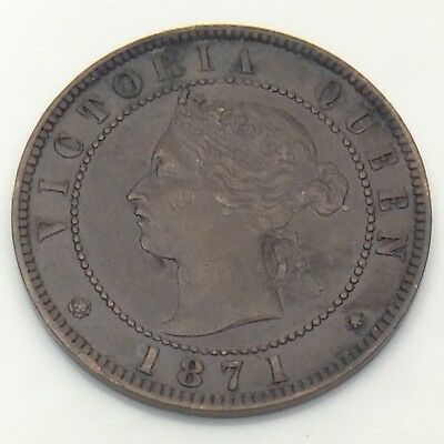 1871 Canada PEI 1 One Cent Large Penny Circulated Canadian Coin F573