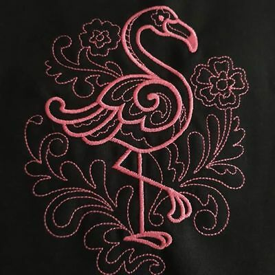 Doodle Flamingo quilting block. Framed/frameable embroidery. 100% Irish linen