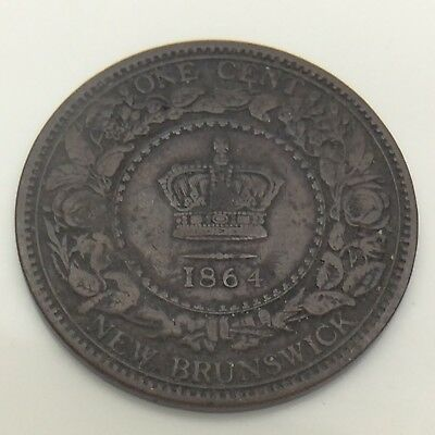 1864 Canada New Brunswick 1 One Cent Large Penny Circulated Canadian Coin F578