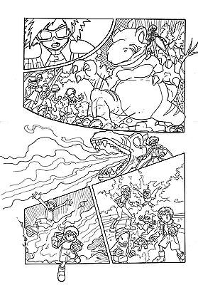 Digimon #02 Original Inked Comic Page Digimon Manga Magazine Artwork Very Rare.