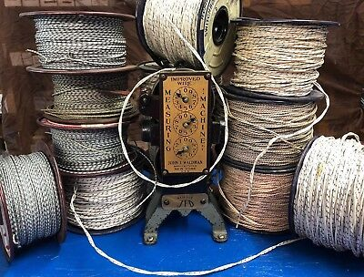 Vintage 2 Conductor 20 AWG Twisted Insulated Cloth Covered Flexible Wire 25 FT