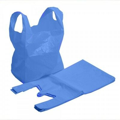 "STRONG QUALITY Blue Plastic Vest Carrier Bags 11x17x21"" Shopping Takeaways 18mu"