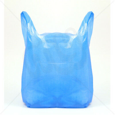 """STRONG NEW Blue Plastic Vest Carrier Bags 11x17x21"""" Shopping Takeaways 18mu"""