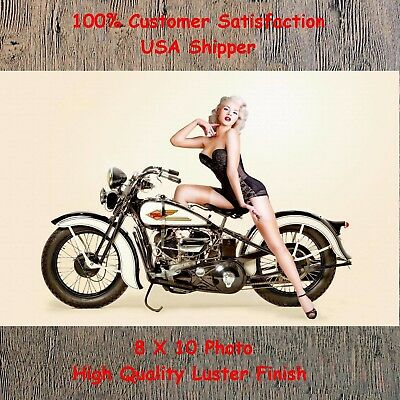 Motorcycle Retro Vintage Man Cave DECOR Pinup Girl 8X10 Photo Pic Picture Sign