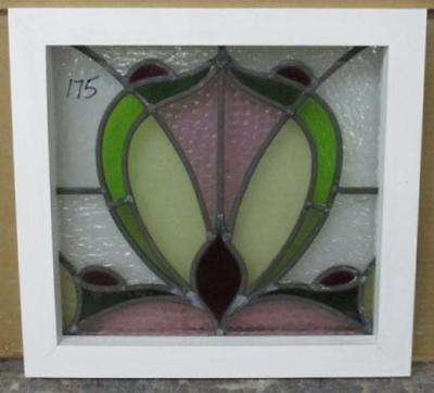 "OLD ENGLISH LEADED STAINED GLASS WINDOW Nice Pretty Abstract 14.25"" x 13.5"""