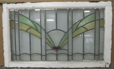 """LARGE OLD ENGLISH LEADED STAINED GLASS WINDOW Pretty Abstract Spread 32.5"""" x 20"""""""