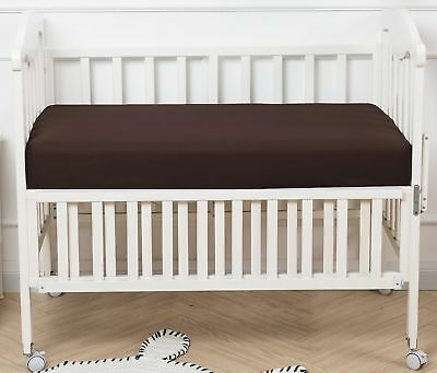 "PHF Crib Fitted Sheets 100% Cotton Deep Pocket 52""X28""X8"" Pack of 2 Coffee New"