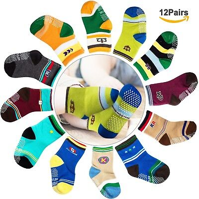 CIEHER 12 Pairs Baby Non-Skid Ankle Cotton Crew Socks with Grip for 9-36 ... New