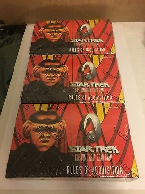 Star Trek CCG Rules Of Acquisition 3 Booster Box LOT Sealed Boxes 90 packs TNG