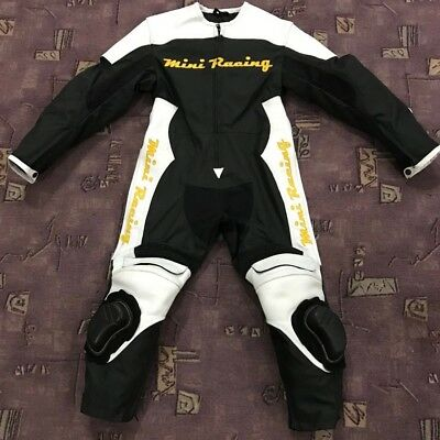 Speed Demon Kids Motorcycle MiniMoto Half Leather Race Suit Black n WHite