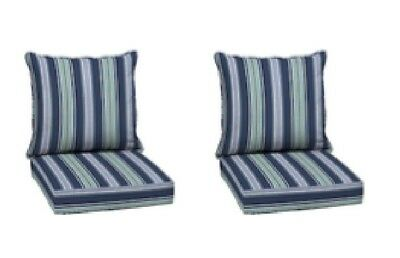 Blue Striped Deep Seat Cushion Set Of 2 Outdoor Patio Chair Dining Pads Yard