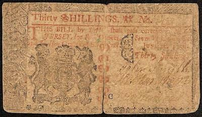 June 22, 1756 New Jersey Colonial Currency 30 Shillings Note Paper Money Nj-98